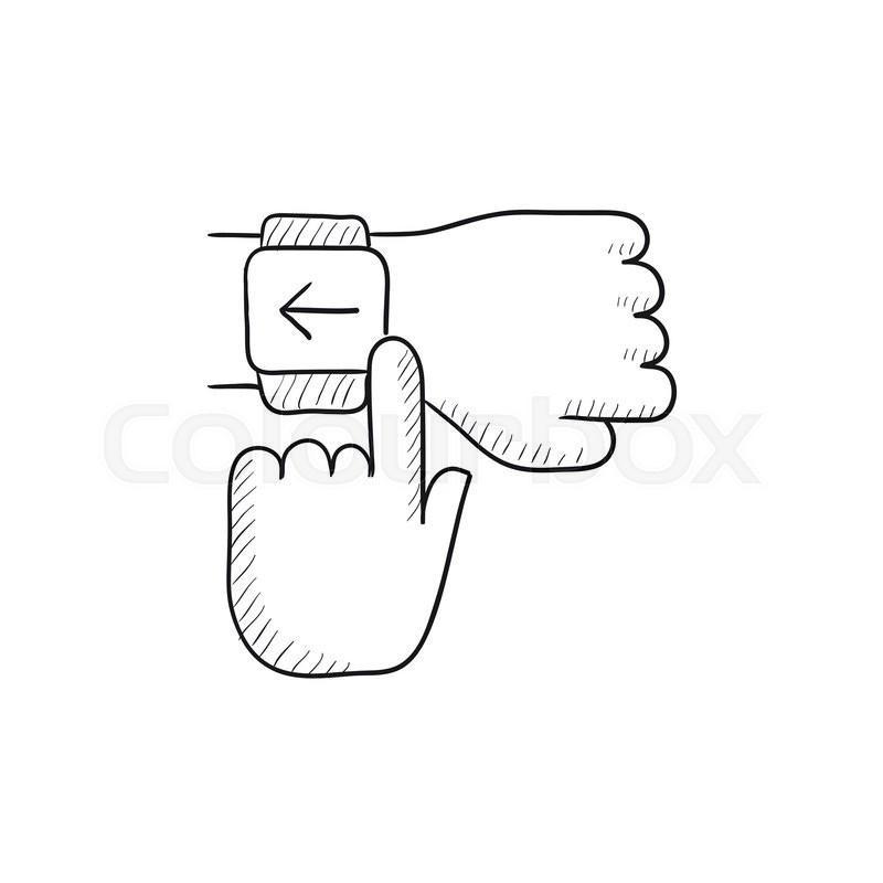 Smartwatch vector sketch icon isolated on background. Hand ...