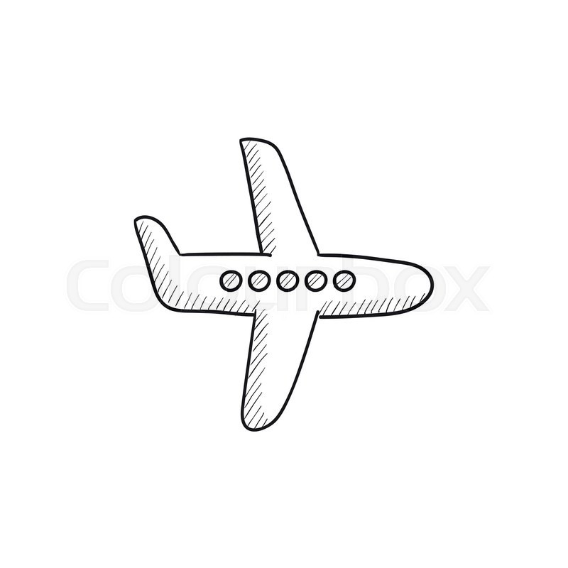 Flying Airplane Vector Sketch Icon Isolated On Background Hand