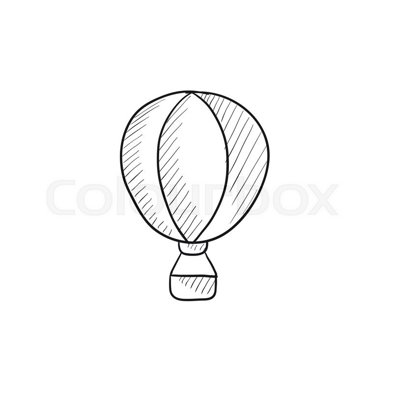 hot air balloon vector sketch icon isolated on background hand drawn hot air balloon icon hot air balloon sketch icon for infographic website or app