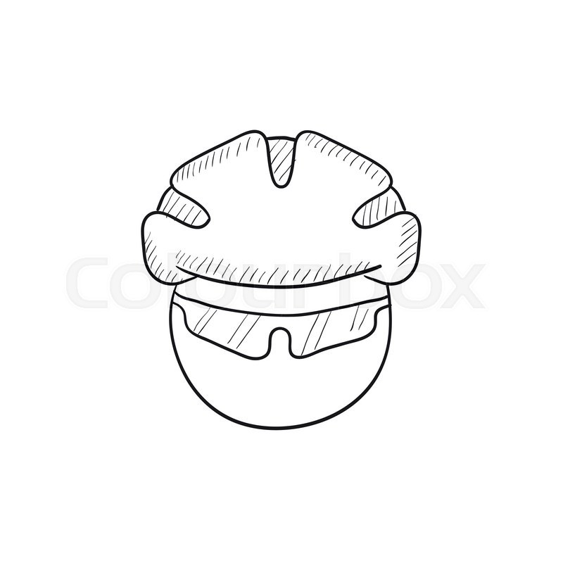 Man In Bicycle Helmet And Glasses Vector Sketch Icon Isolated On