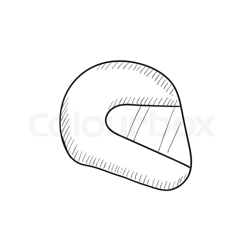 motorcycle helmet vector sketch icon isolated on background hand