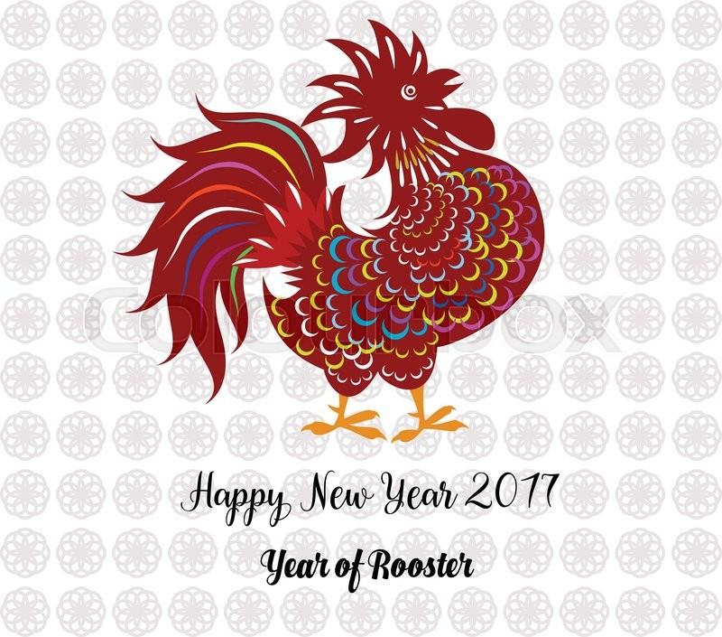 2017 happy new year greeting card celebration chinese new year of the rooster lunar new year stock vector colourbox - When Is Chinese New Year 2017