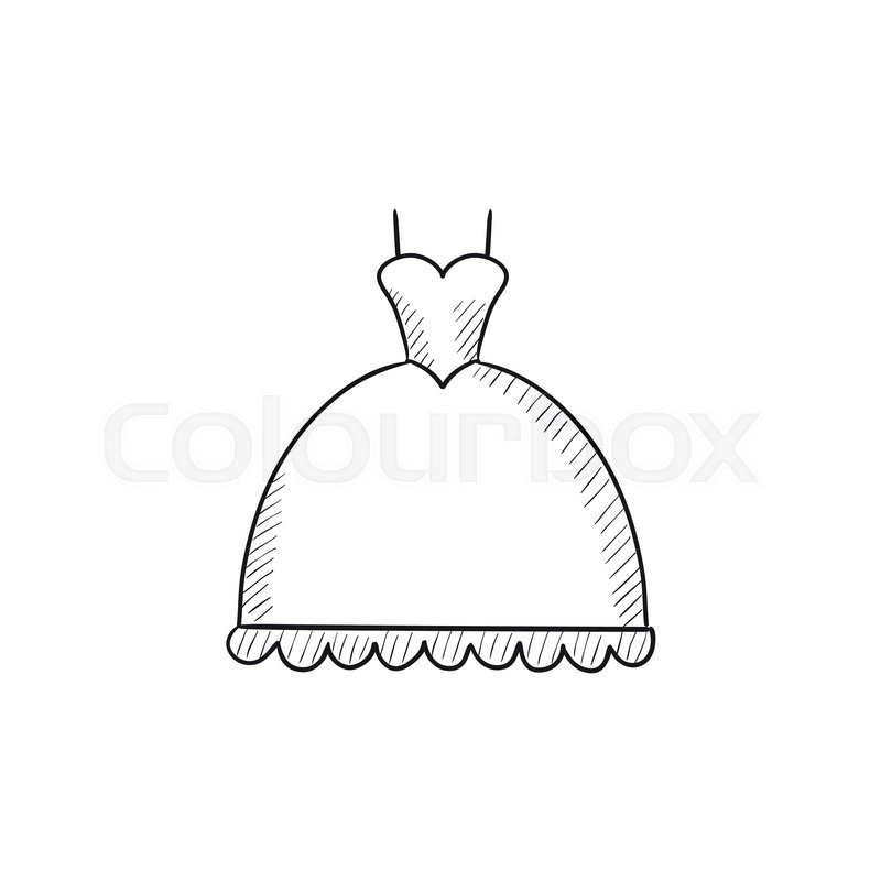 Wedding dress vector sketch icon isolated on background for Design your wedding dress app