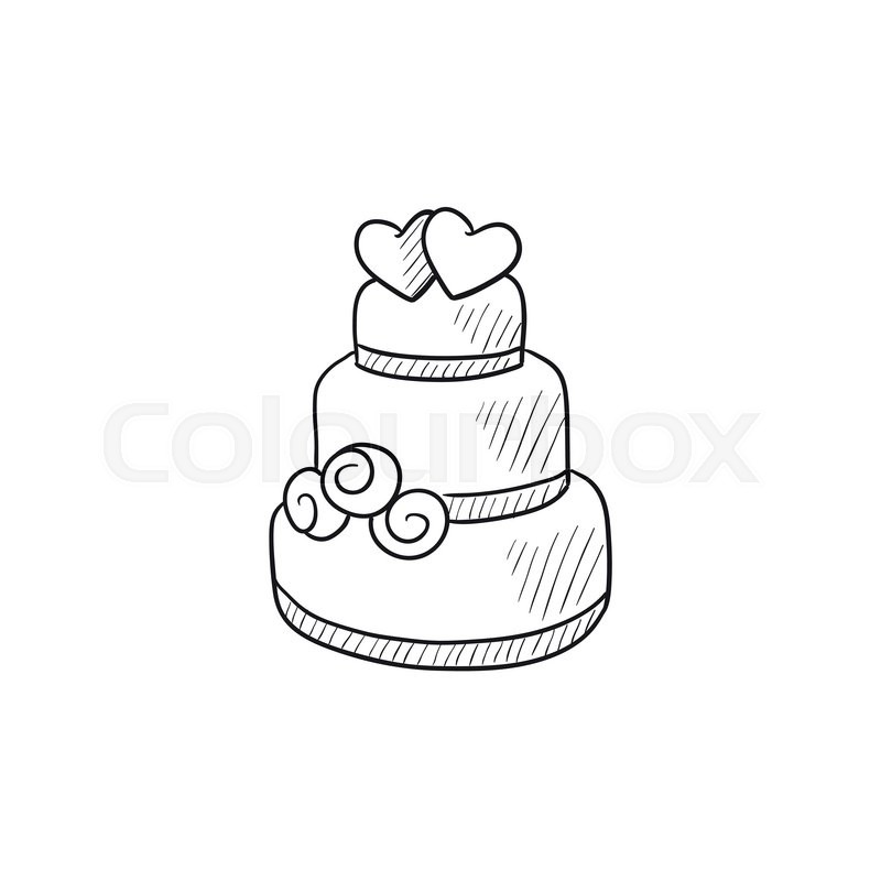 Line Drawing App : Wedding cake vector sketch icon isolated on background