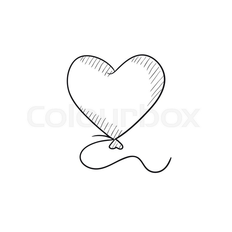 heart balloon vector sketch icon isolated on background hand drawn heart balloon icon heart balloon sketch icon for infographic website or app