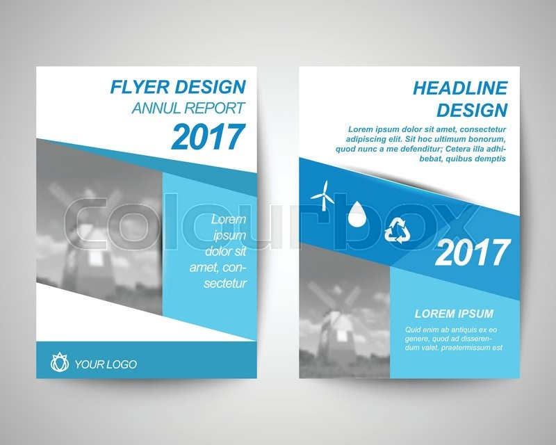 Blue With Windmil Background Abstract Flyer Layout Template