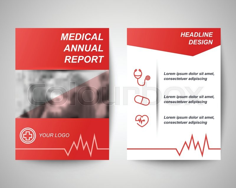 red medical annual report abstract flyer layout template brochure background leaflet with cover vector design in a4 size for business stock vector