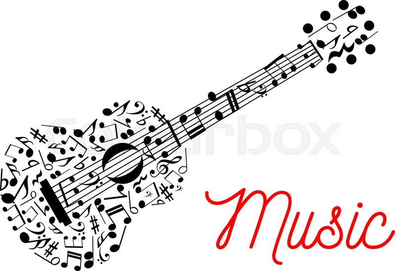 Acoustic Guitar Composed Of Musical Stave With Notes Symbol For