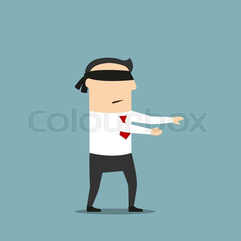 9f45b82a827 Stock vector of  Disoriented cartoon blindfolded businessman with black  band on eyes is walking forward