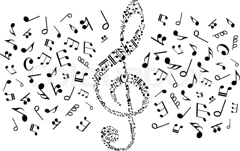 Decorative Music Symbol Of Treble Clef Compounded Of Musical Notes