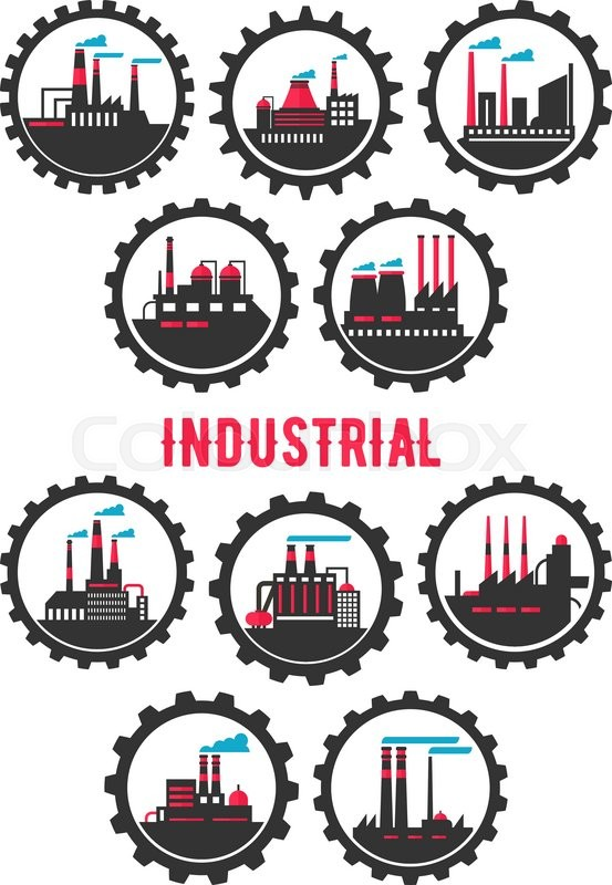 Industrial Plants Flat Symbols Framed By Gear Wheels With Chemical