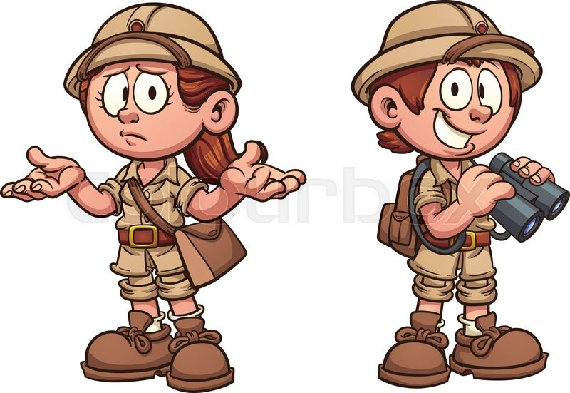 Explorer Kids In Safari Outfits Vector Clip Art Cartoon Illustration With Simple Gra Nts Each On A Separate Layer Stock Vector Colourbox