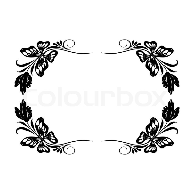 Isolated vintage frame with butterflies and leaves in retro style ...