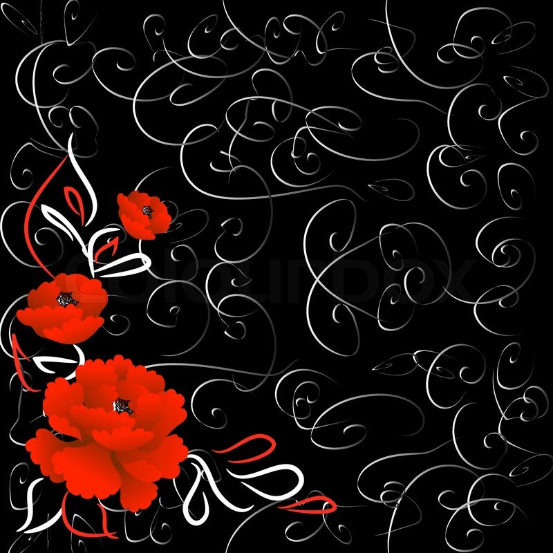 Black Background With Bright Red Roses And Grey Swirls