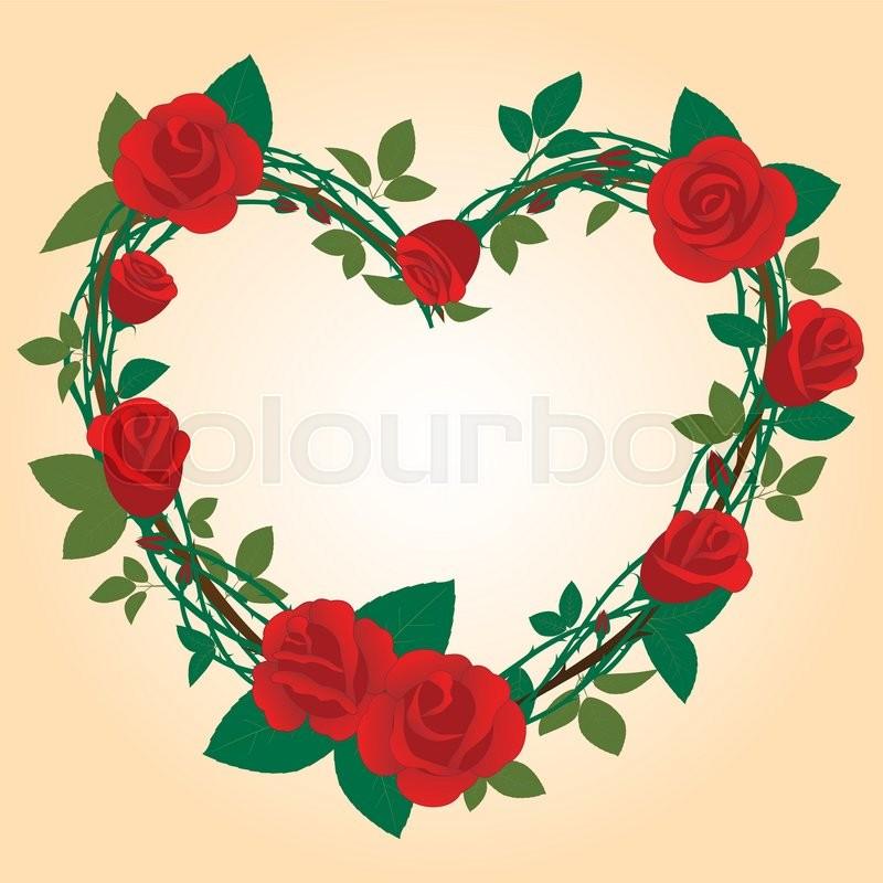 Heart Shape Red Rose Flower Frame | Stock Vector | Colourbox
