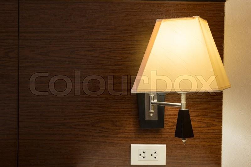 Electricity lamp interior in bedroom, stock photo