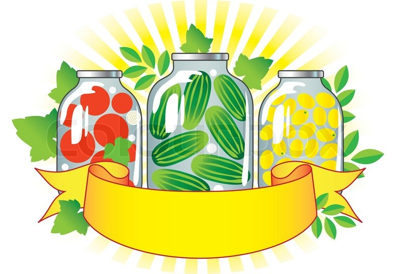 Canned Fruits And Vegetables In Glass Jars Stock Vector