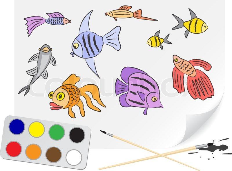Children Drawing The Aquarium Fishes A Stock Vector Colourbox