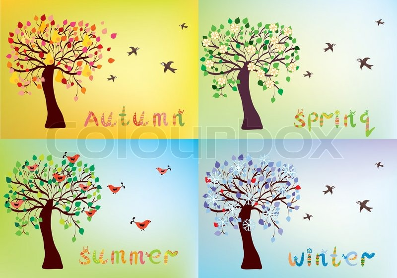Four Seasons Card With Tree And Names Stock