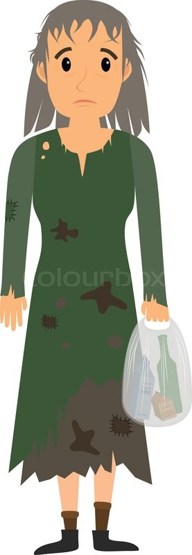 homeless woman in dirty old clothes whith bag in hand