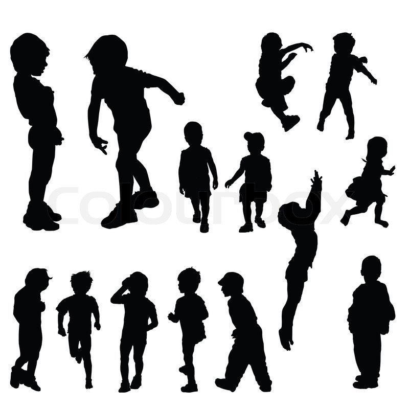 Stock image of 'Children silhouettes in different positions, illustration'