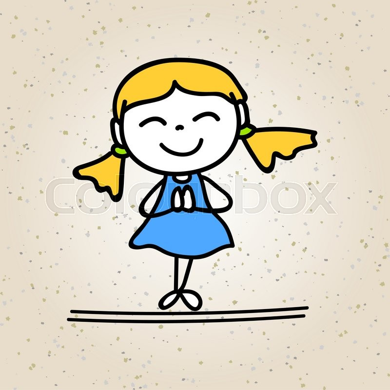 hand drawing cartoon happy girl happy kid with thank you posture