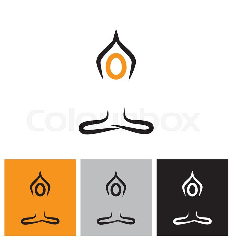 vector logo icon person doing meditation and yoga this also