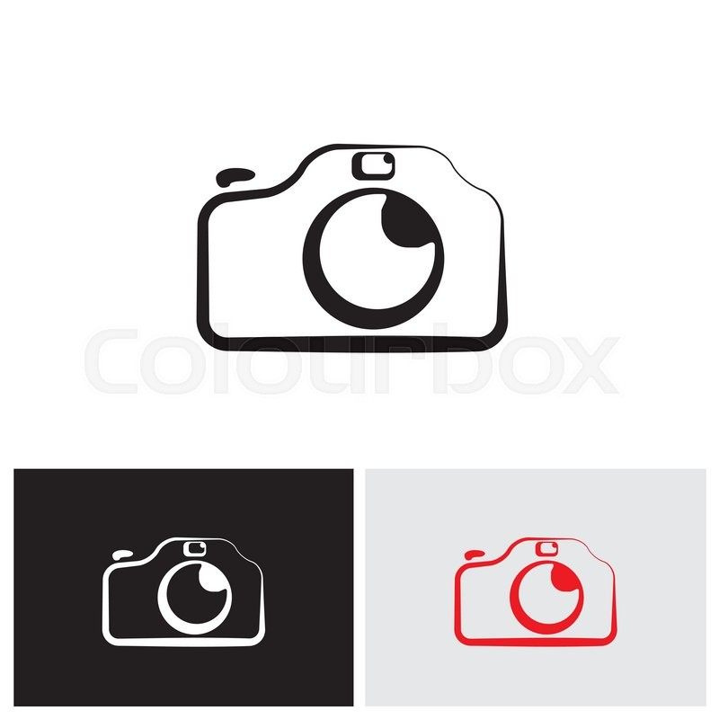 vector logo icon of digital modern camera with flash icon