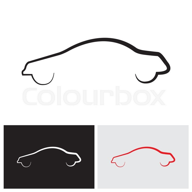 sleek modern car or sedan outline vector logo icon stock vector rh colourbox com car outline logo vector outlines car vector drawing