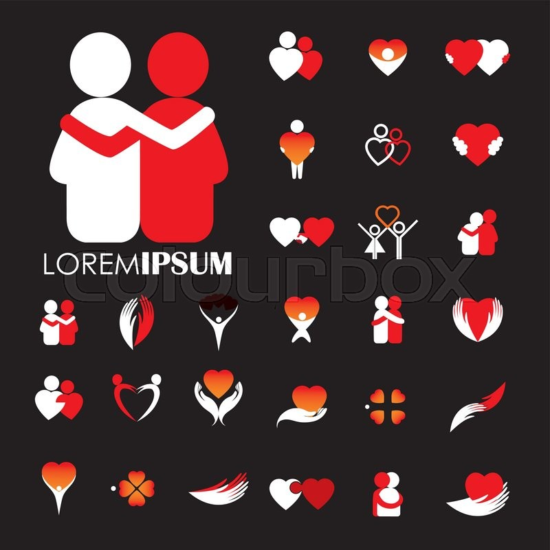 Love And Heart Intimacy And Empathy Vector Logo Icons Love Icon