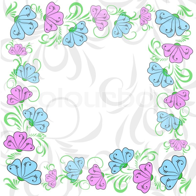 Frame from flowers of a sweet pea (blue and lilac) on white ...