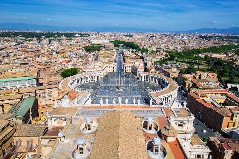 Stock image of 'View of St. Peter Square and Rome from the Dome of St. Peter Basilica, Vatican'