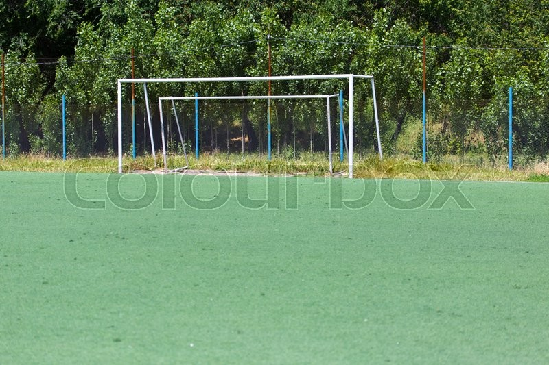 Stock image of 'Gate on a football field'