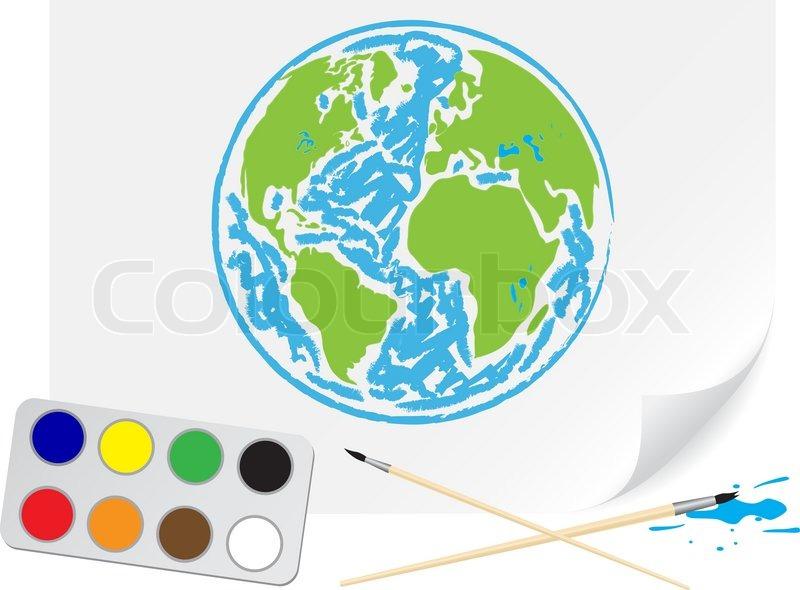 kinder zeichnung einen gr nen erde einem pinsel malt auf papier stock vektor colourbox. Black Bedroom Furniture Sets. Home Design Ideas