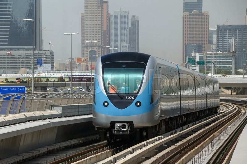 Editorial image of 'View on metro train in Dubai'
