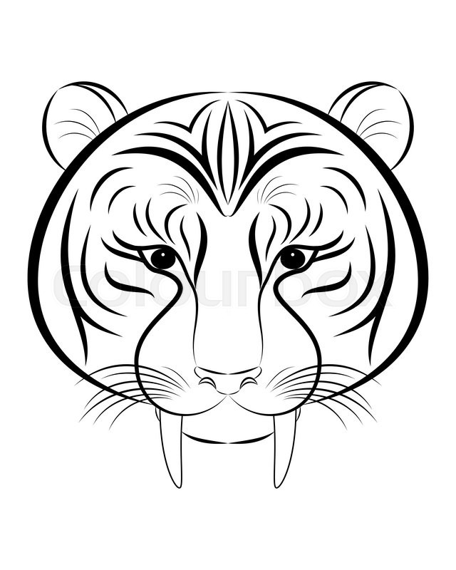 Stock Vector Of U0027Head Of Saber Toothed Tiger Line Icon. Tattoo Design.