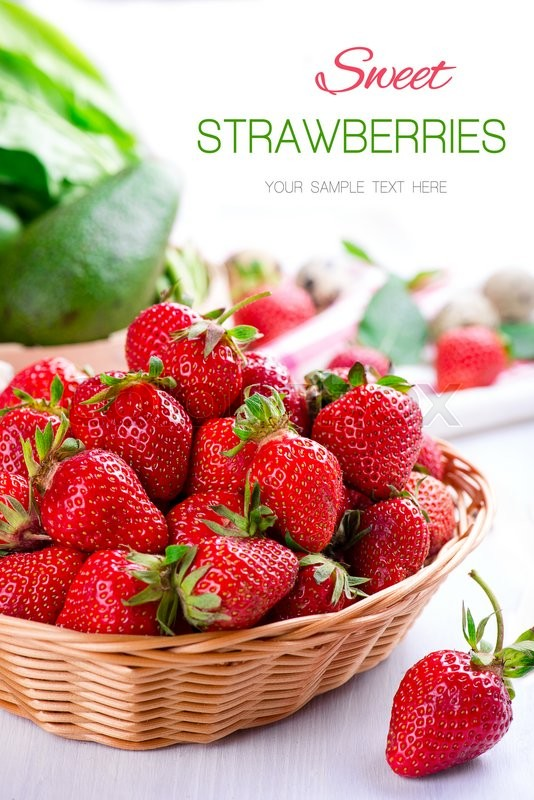Stock image of 'fresh strawberry in the basket on white wooden table'