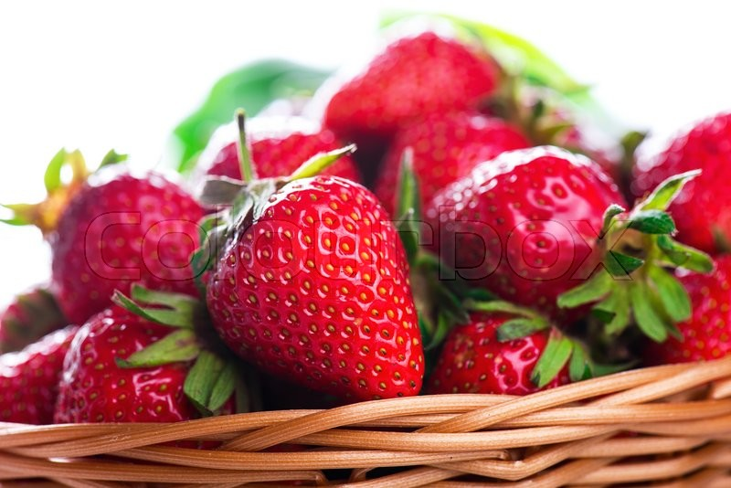 Stock image of 'Fresh strawberries close up photo with white space'