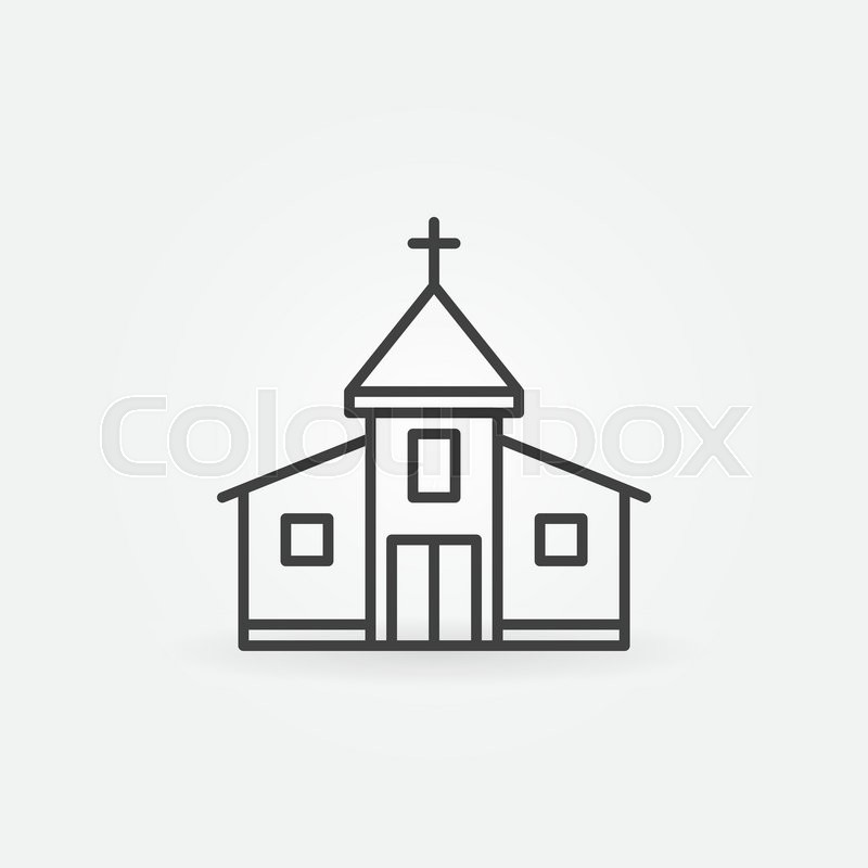 ... Church building icon - vector simple symbol. Outline christian church