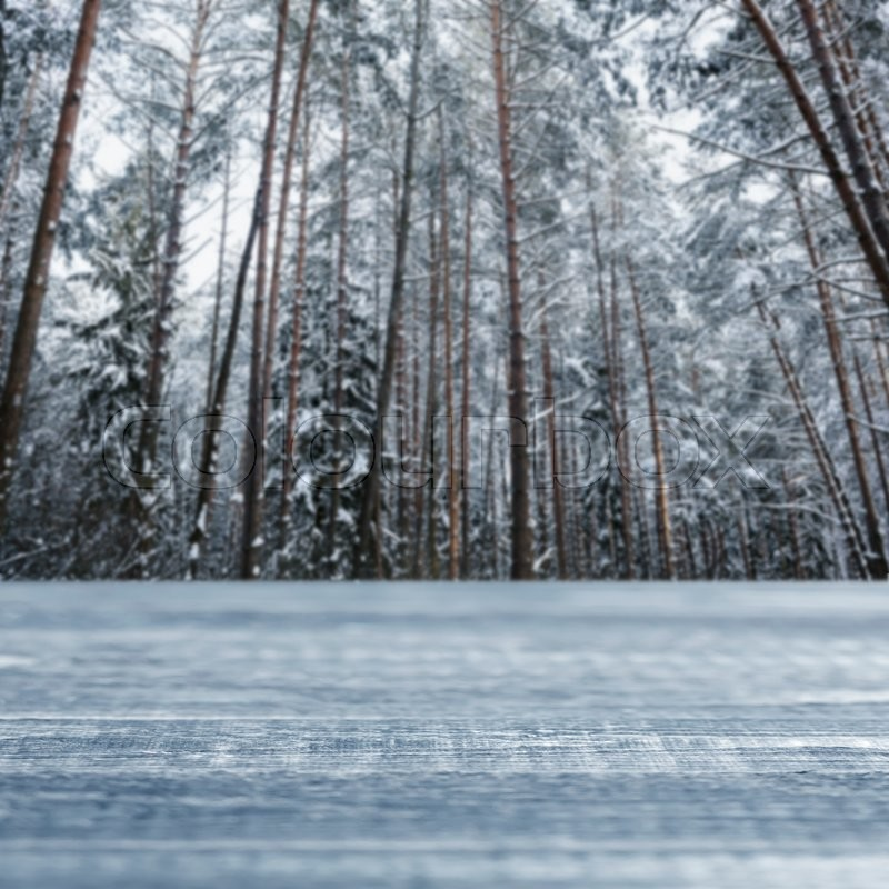 Stock image of 'Empty wooden table with winter pine snowy forest background, copy space'