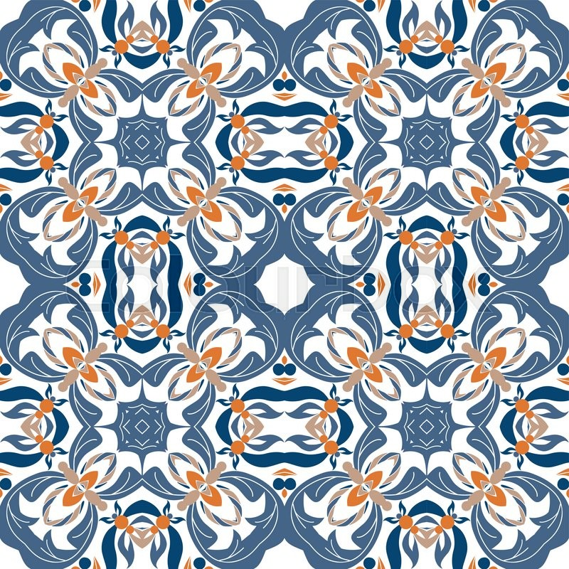 cute mexican stylized talavera tiles seamless pattern