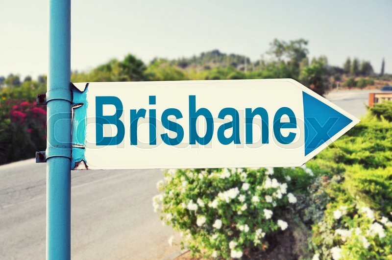 Stock image of 'Brisbane, Australia. Road Sign with beautiful nature and road on background'