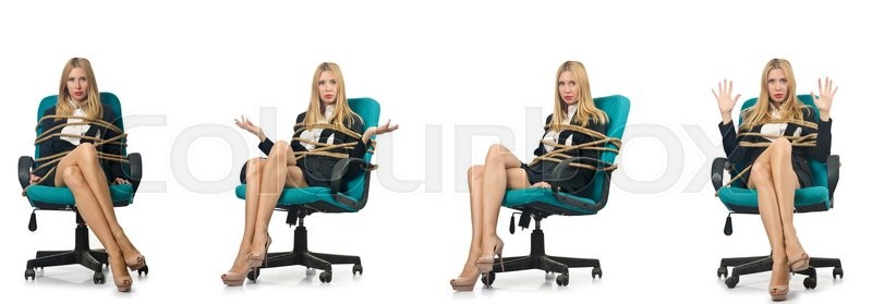 Stock image of 'Businesswoman woman tied up with rope on white'