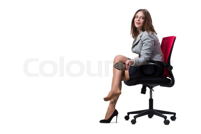 Stock image of 'Businesswoman sitting isolated on white background'