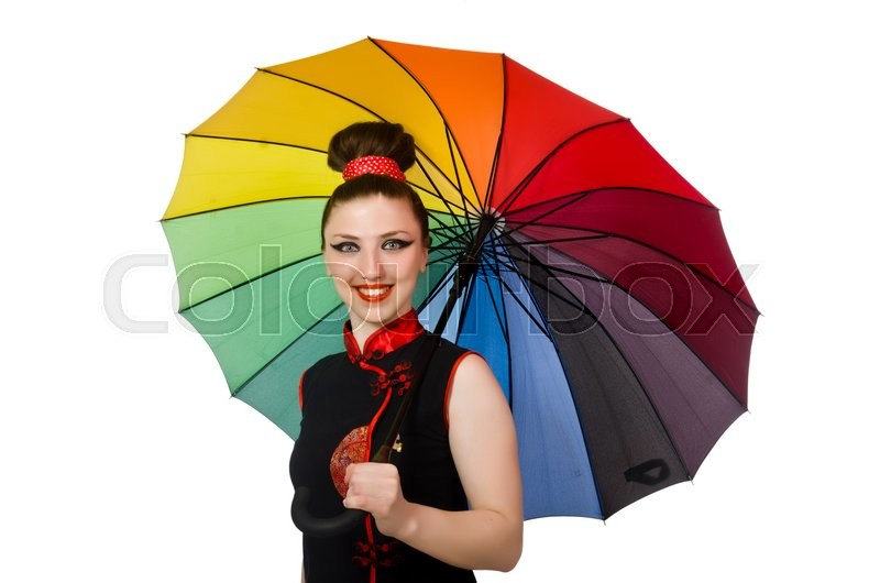 Stock image of 'Woman with colourful umbrella isolated on white'