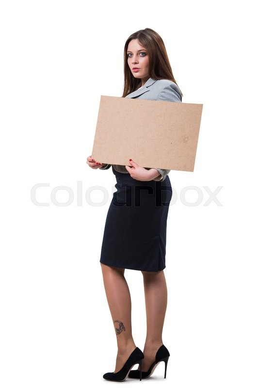 Stock image of 'Businesswoman with blank message on white'