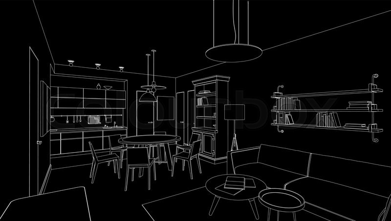 Interior Line Drawing On Black Background Vector