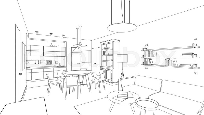 Interior Design Line Art : Line drawing of the interior on white background stock
