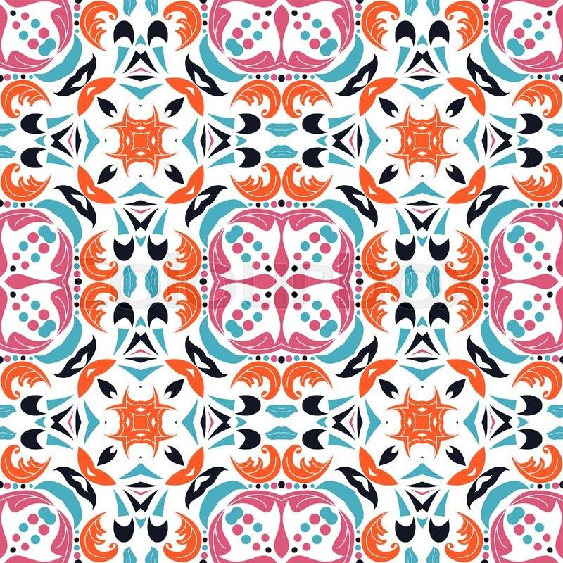 cute mexican stylized talavera tiles seamless pattern
