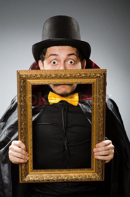 Stock image of 'Funny man with picture frame'